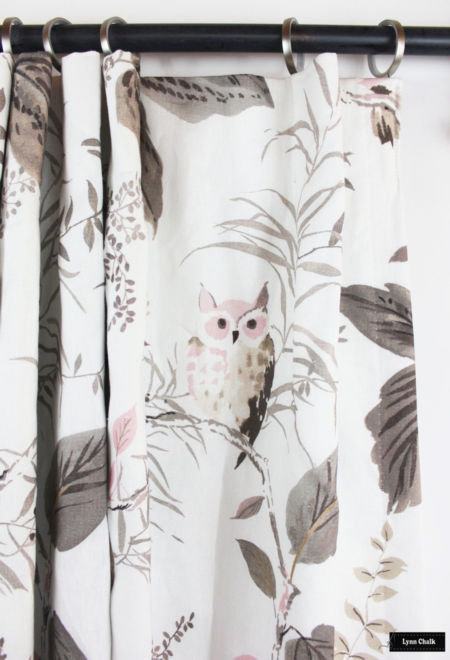 Custom Drapes in Kate Spade Owlish in Blush