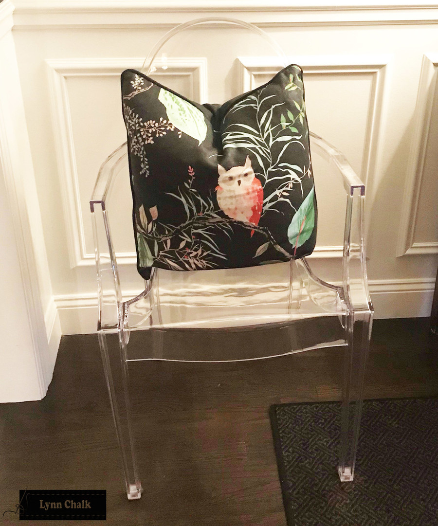 Kate Spade for Kravet OWLISH Custom Pillow (shown in Black with Black Welting which is an additional option-comes in other colors) 2 Pillow Minimum Order