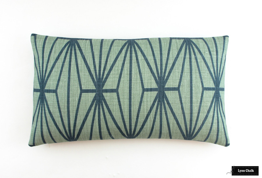 Kelly Wearstler Katana Jade Teal Pillow (14 X 24)