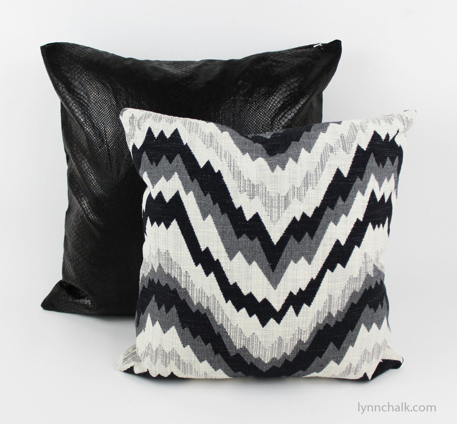 "Custom Knife Edge Pillows by Lynn Chalk in Kelly Wearstler Flair Noir (Pillow in Photo is 18"" X 18"") and Serpent in back (20"" X 20"")"