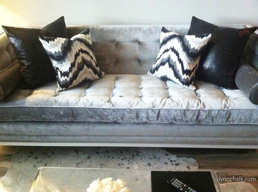 "Custom Pillows by Lynn Chalk in Kelly Wearstler Flair Noir (Pillow in Photo is 18"" X 18"") and Serpent in back (20"" X 20"").  (Picture sent in by client)"