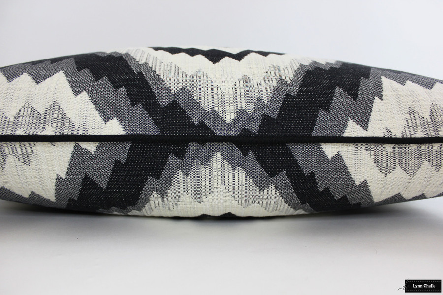 Kelly Wearstler Flair Noir Custom Pillows with Black Welting