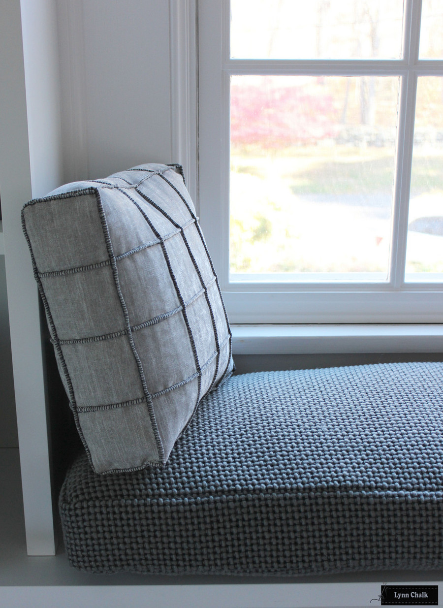 Window Seat Roman Shades in Larsen Danville Smoke.  Cushion in Maharam Monks Wool.   Pillows in Pierre Frey Cube Cendre by Lynn Chalk.