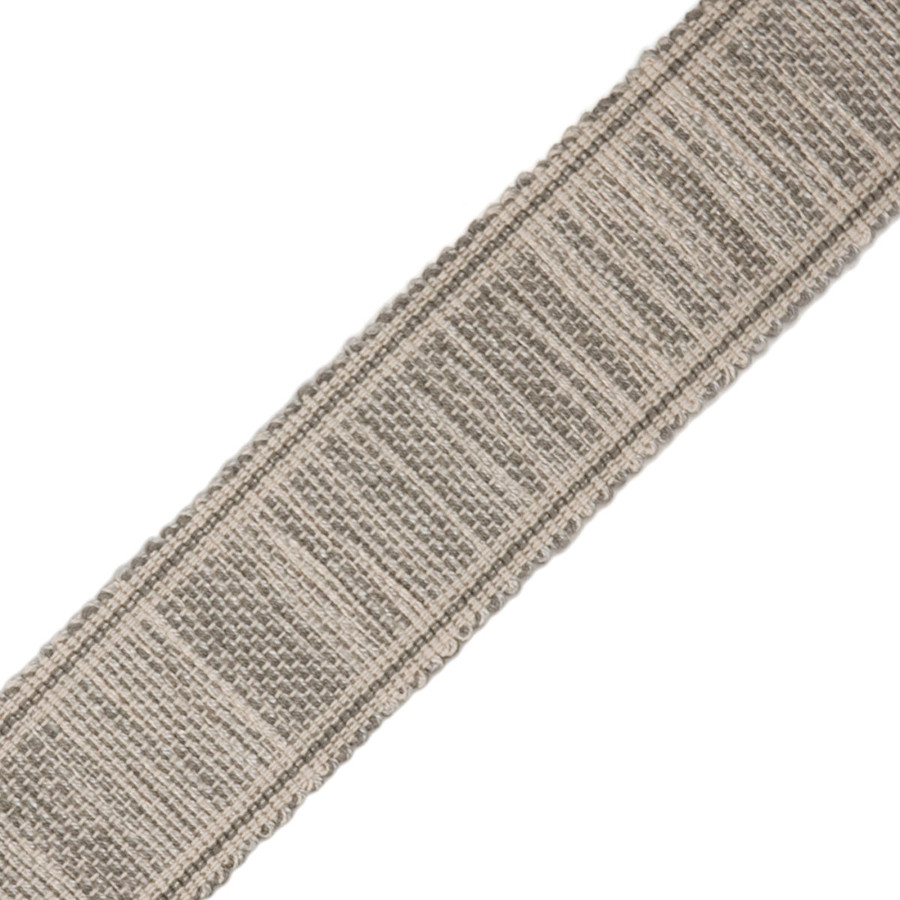 "Roman Shade in Robert Allen Milan Solid Pearl Linen with Samuel and Sons Gresham Tweeded 1.75"" Border Trim (comes in 18 colors)"