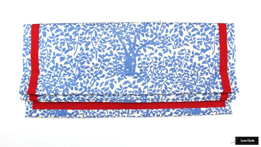 Quadrille Arbre De Matisse China Blue Roman Shades with Samuel & Sons Grosgrain Ribbon Trim Pimento