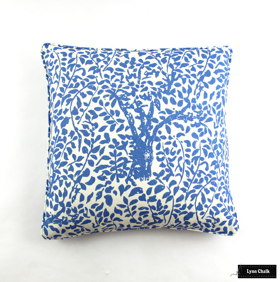 Quadrille China Seas Arbre De Matisse Roman Shades (shown in China Blue with Samuel & Sons Pimento Grosgrain Ribbon Trim)