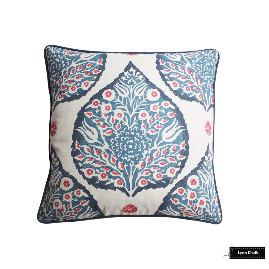 Lotus Pillow in Lapis on Logan Natural Linen 20 X 20 with Navy Welting