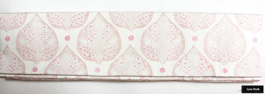 Lotus Double Wide Roman Shade in Custom Colors (Rose Quartz inside lotus, Blossom outside Lotus, Punch small petals)