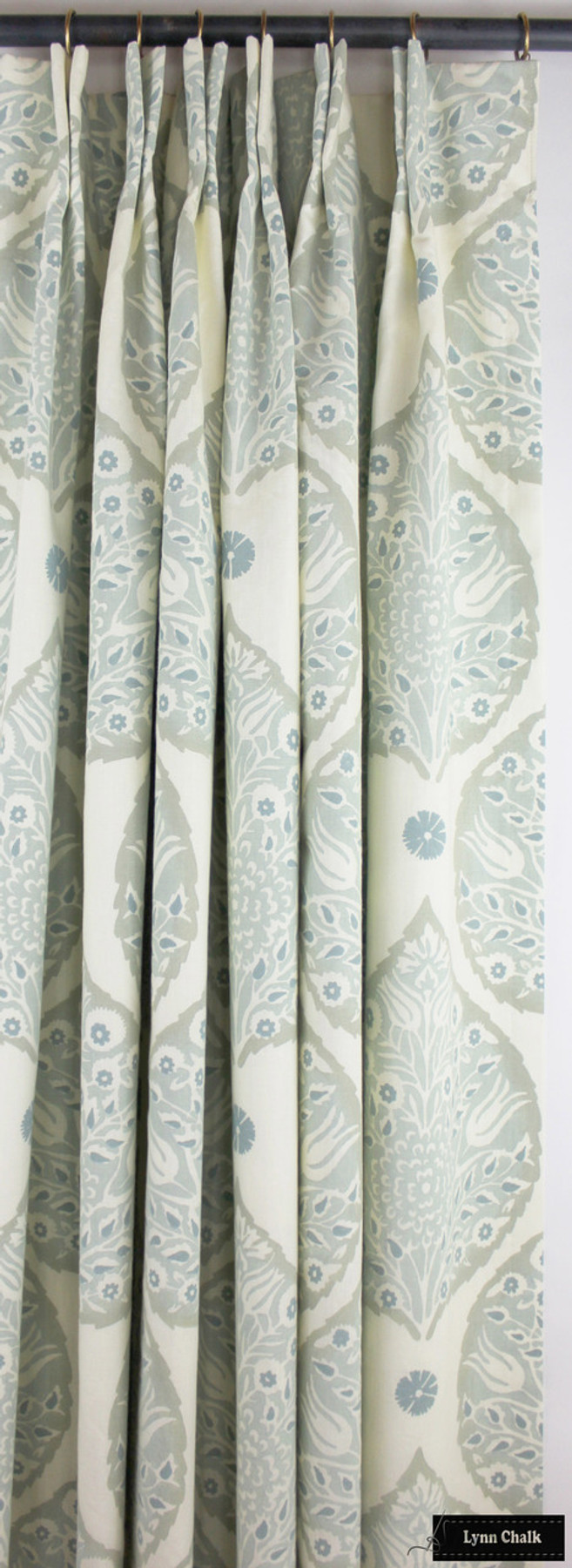 Galbraith & Paul Lotus Wallpaper in Dining Room with Ivory Linen Drapes (Elle Decor) Wallpaper Sold By The Yard - 5 Yard Minimum Order