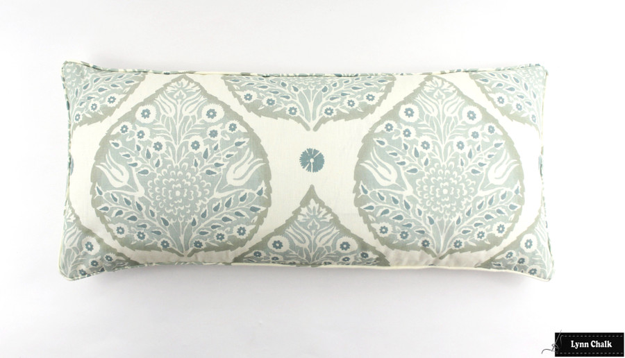 Galbraith and Paul Lotus Wallpaper in Aqua- Sold By The Yard - 5 Yard Minimum Order