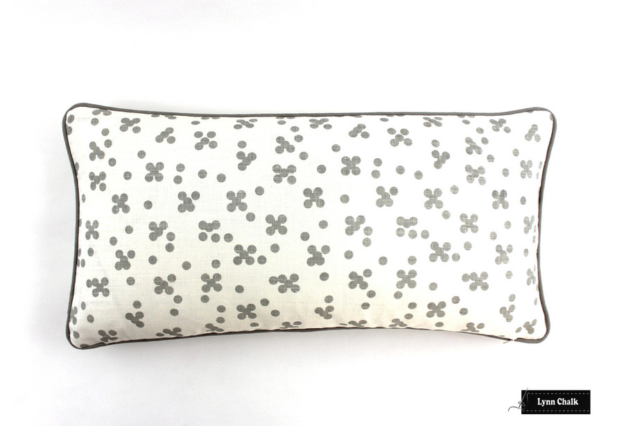 ON SALE 50% Off - Pillows in Christopher Farr Pollen in Smoke with Grey Welting (Both Sides-12 X 24)