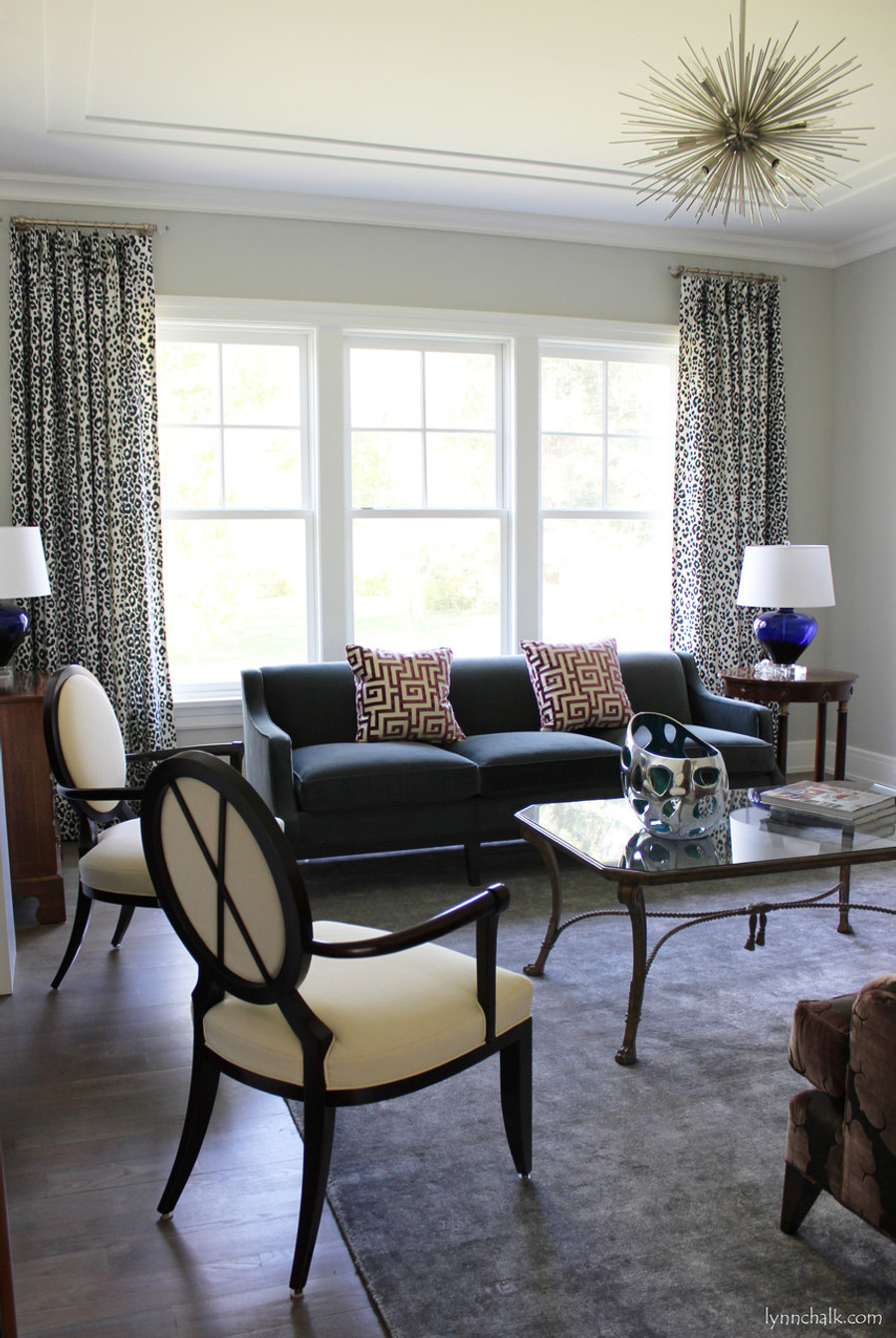 Custom Traditional Pinch Pleated Drapes by Lynn Chalk in Schumacher Iconic Leopard in Ink