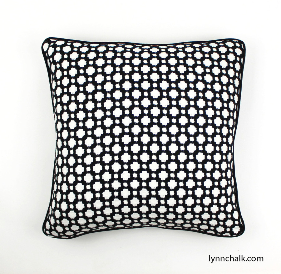 Pillow in Betwixt Black and White with Black Welting