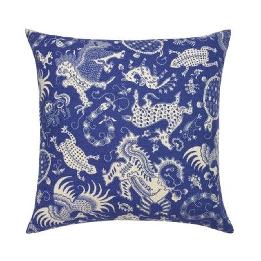 Quadrille Indramayu Pillow in Cream on French Blue