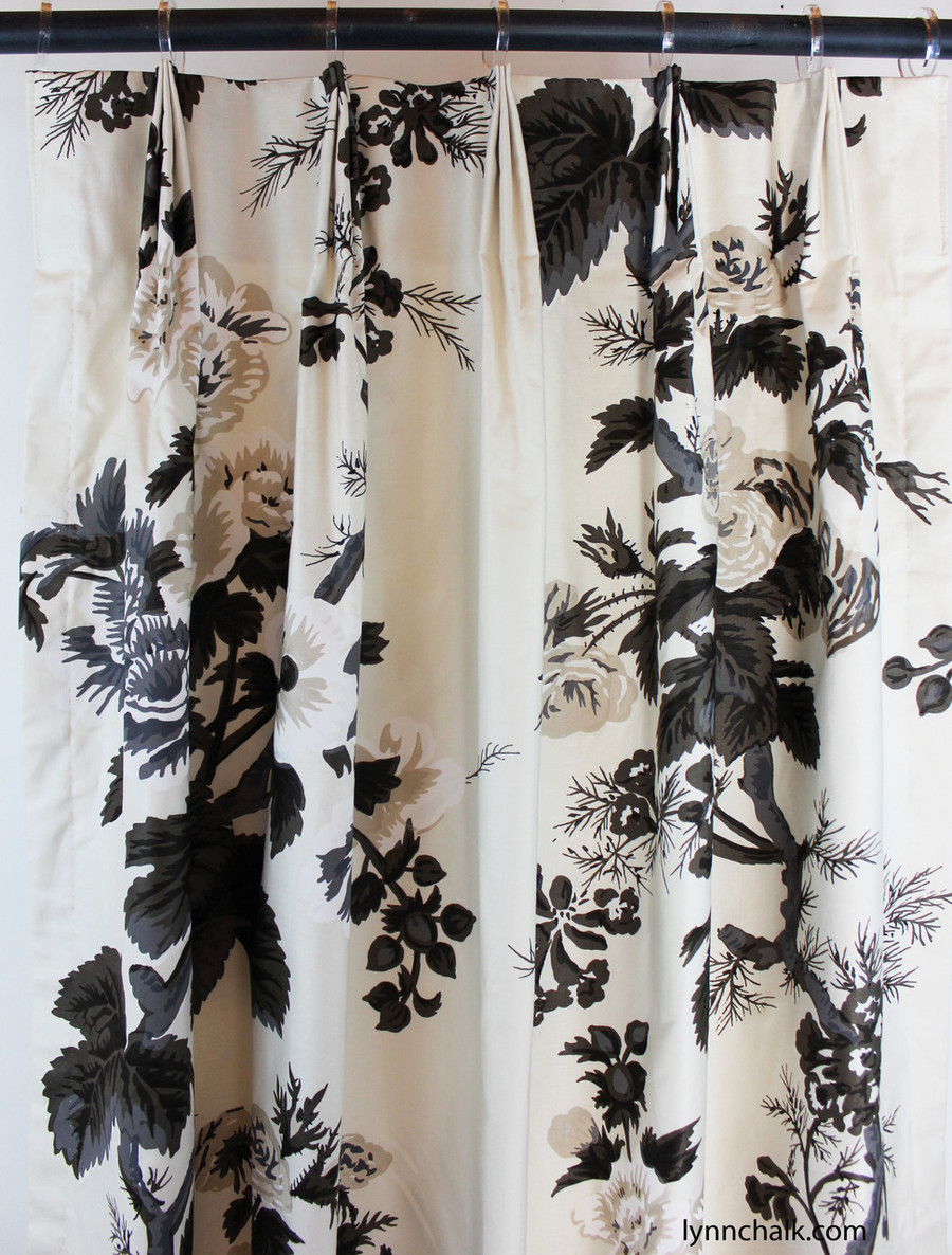 Custom Fan Pleated Drapes in Pyne Hollyhock Print in Charcoal