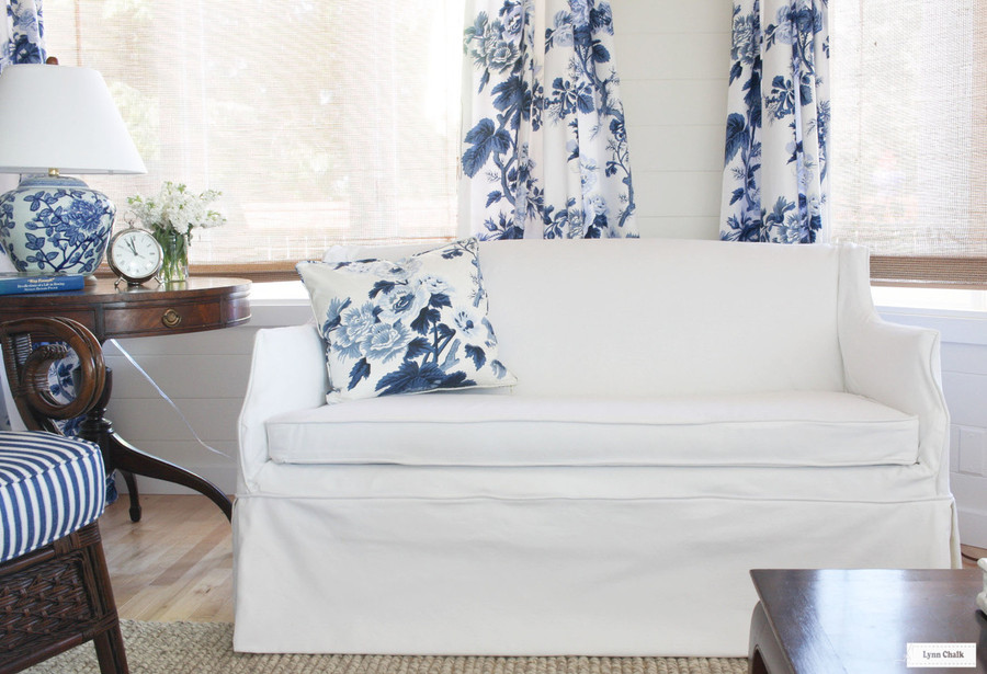 Schumacher Pyne Hollyhock Print Euro Pleated Drapes (shown in Indigo-also comes in Charcoal, Blush, Grisaille and Tobacco)