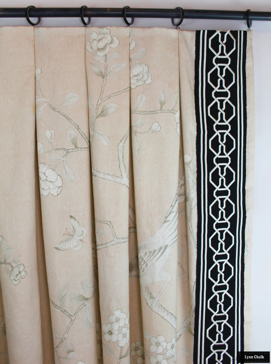 Mary McDonald Chinois Palais with Inverted Pleats in Blush Conch with Malmaison Trim in Noir/Swan (Custom Made by Lynn Chalk)