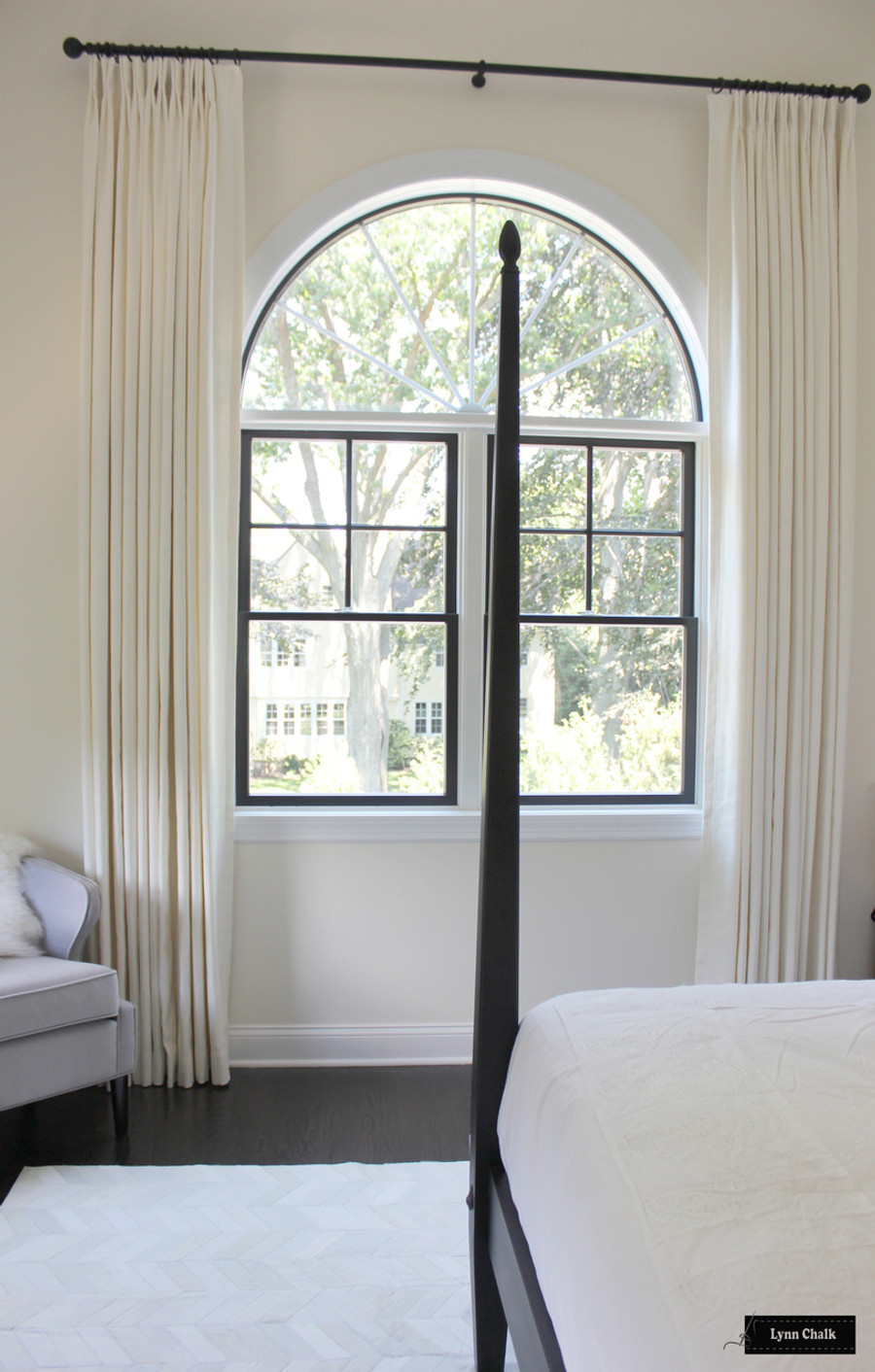 Trend 01838T Coconut (2 1/2 Widths at 125 inches long).  Hardware is Aria Abode Collection in Matte Black.