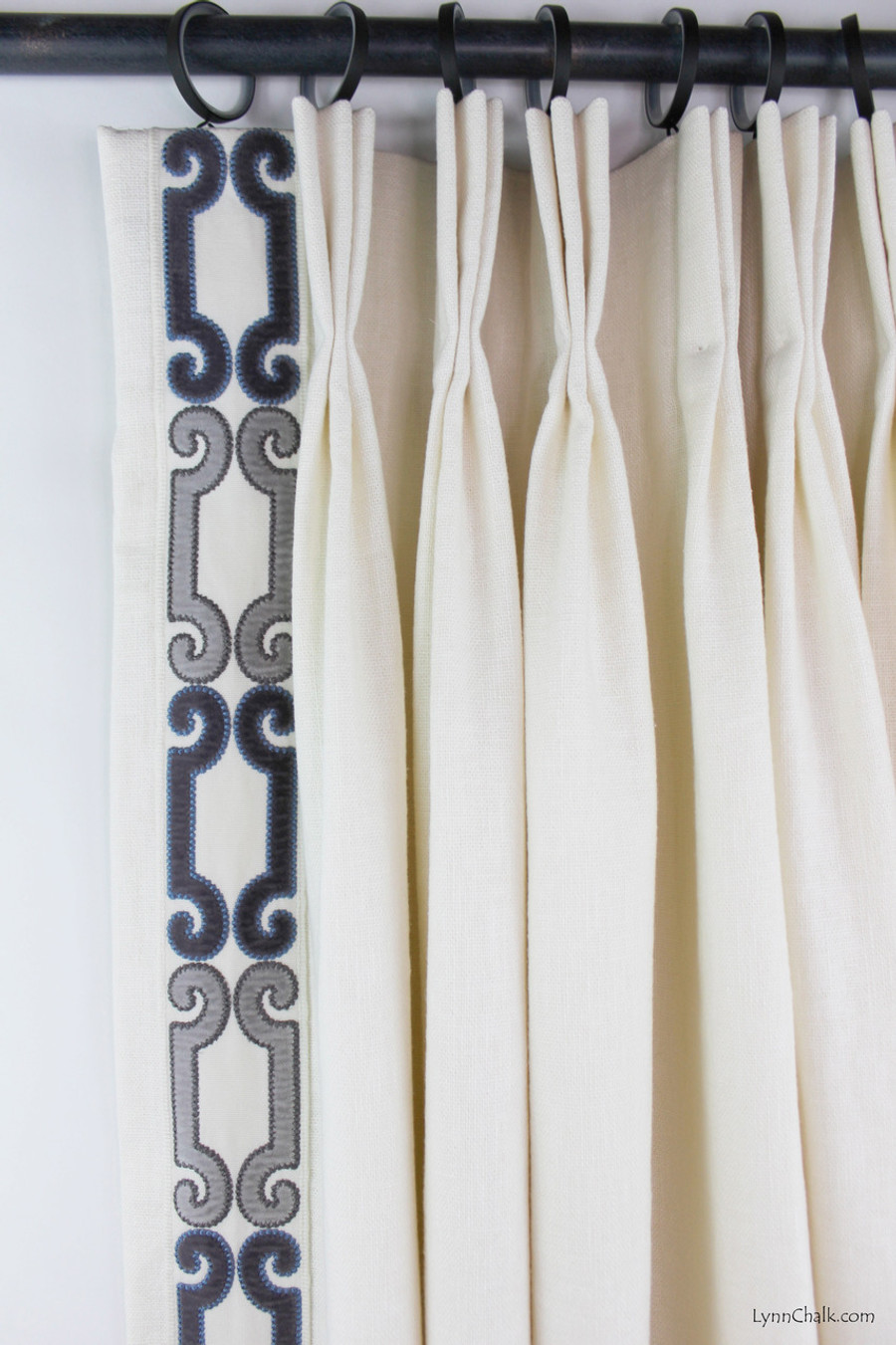 """Trend 01838 Glacier Drapes with Zimmer Rohde Velvet Scroll Trim 2.75"""" Navy Gray 2860012598"""