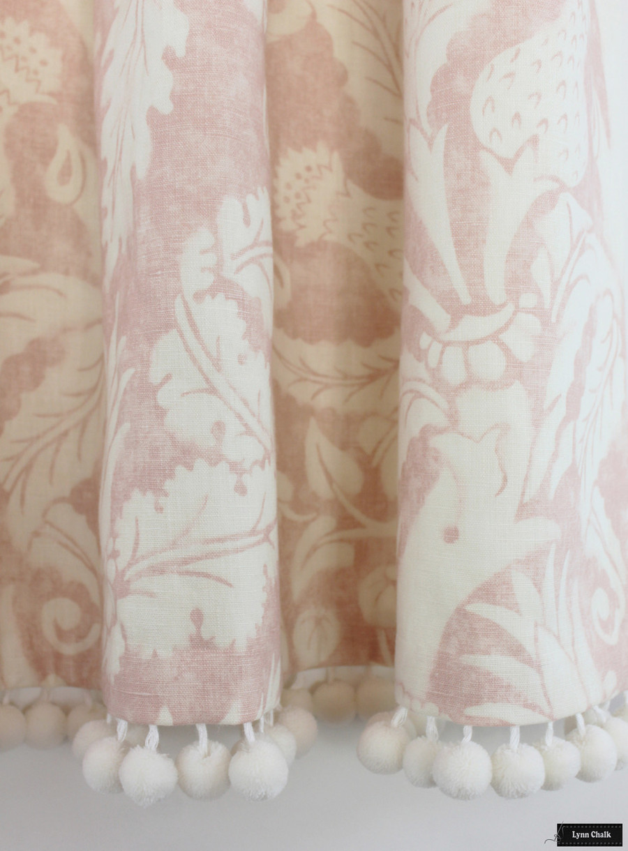 Schumacher Mary McDonald Villa De Medici Blush Drapes with Samuel and Sons Pom Pom Trim in Whipped Cream