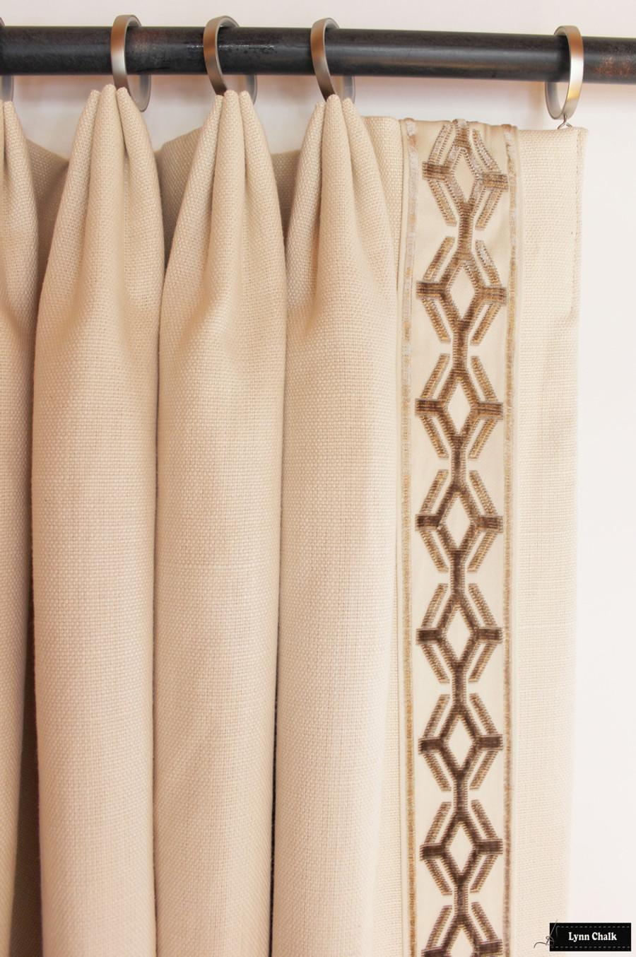 Linen Drapes with Samuel and Sons Orly Epingle Velvet Border in Linen