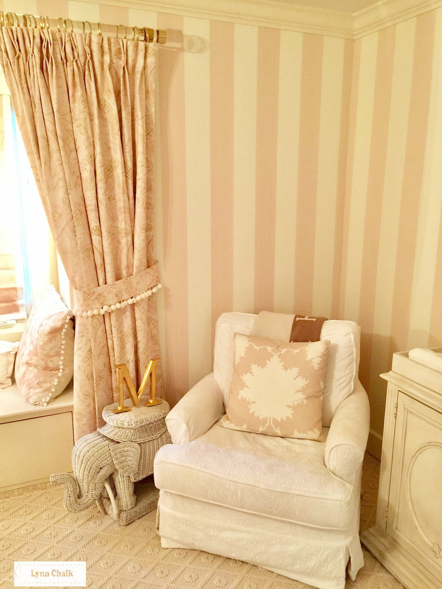 Pillow in Garden of Persia in Blush Conch.  Drapes in Cap Ferrat in Blush.