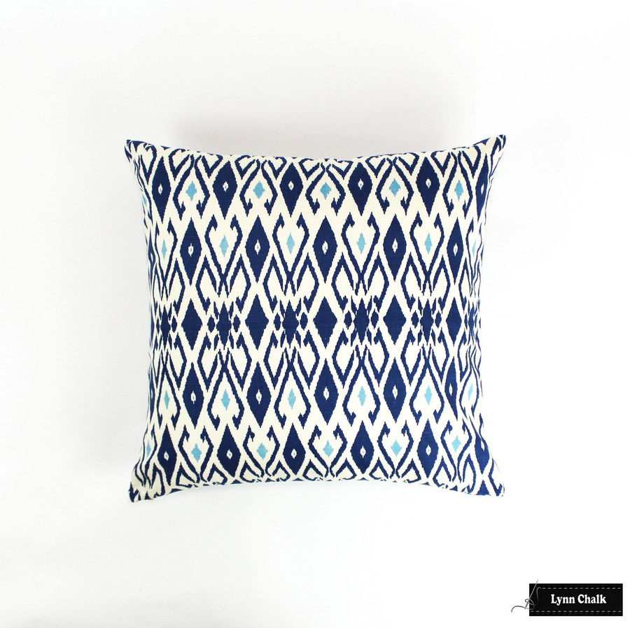 Quadrille Lockan Pillows in Navy/Blue on Tint (22 X 22)