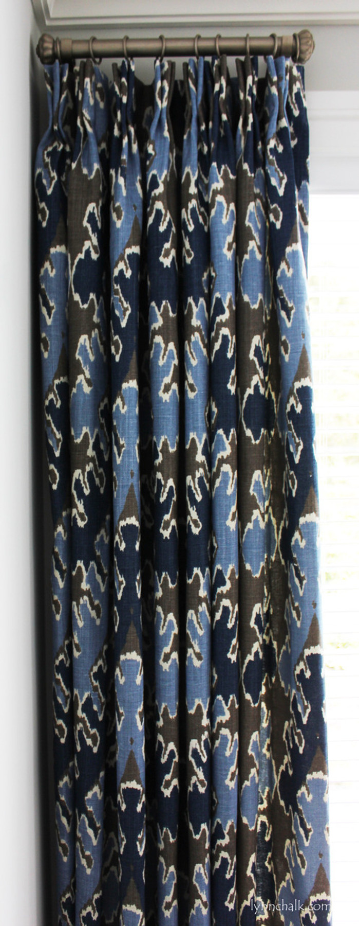 Drapes in Bengal Bazaar in Graphite/Indigo with Traditional Pinch Pleats
