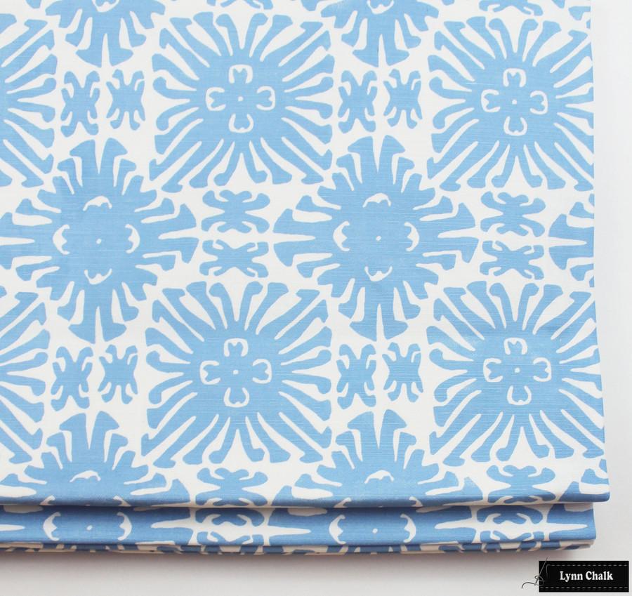 Quadrille Sigourney Small Scale French Blue on White Roman Shade