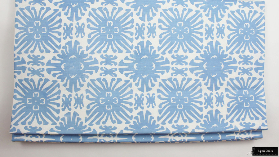 Quadrille Sigourney Small Scale French Blue on White Roman Shade