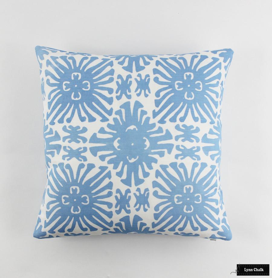 Quadrille Sigourney Small Scale French Blue on White Pillow (18 X 18)
