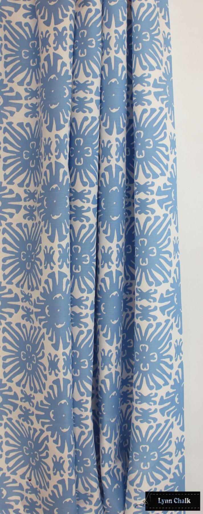 Quadrille Sigourney Small Scale French Blue on White Drapes