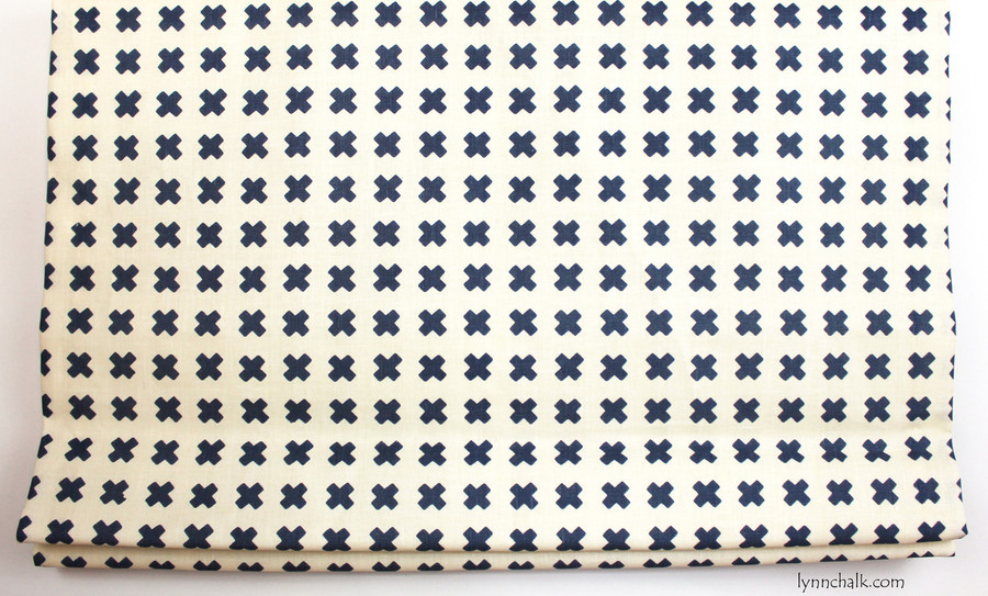 ON SALE 55% Off -Quadrille China Seas Cross Check with Navy Welting Pillow (Both Sides- 17 X 17  in Navy on Tint with Navy Welting) Fabric has been discontinued