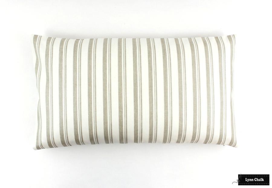 Capri Beige/White Pillow (12 X 22)