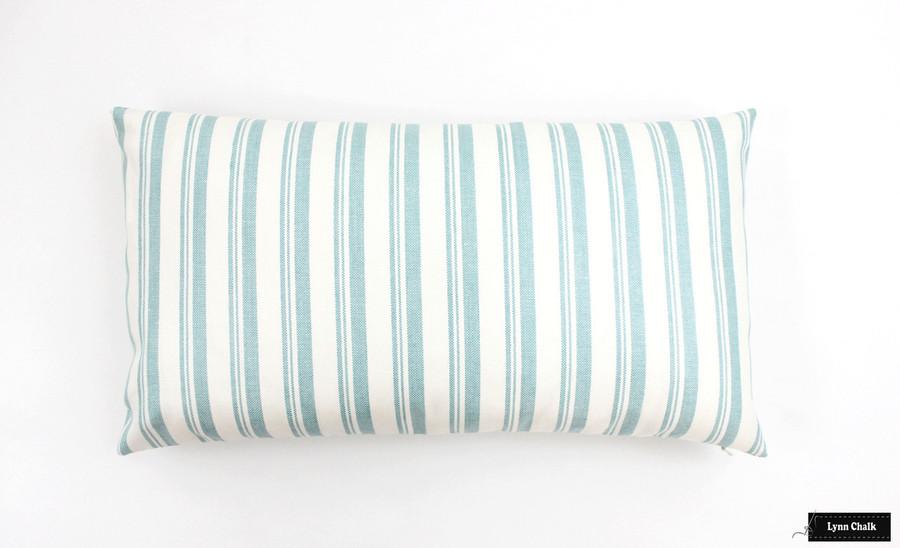 Capri Aqua/White Pillow (12 X 22)