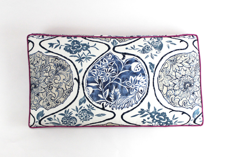 Schumacher Katsugi Multi Blues Cushion 37 X 17 X 2 with Robert Allen Lustre Sheen Fuchsia Welting