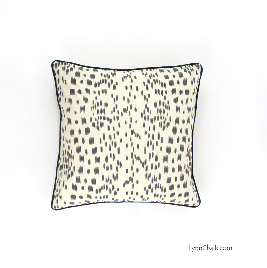 ON SALE Brunschwig & Fils/Lee Jofa Les Touches Pillows in Black with Contrasting Black Welting (20 X 20) Only 1 Remaining