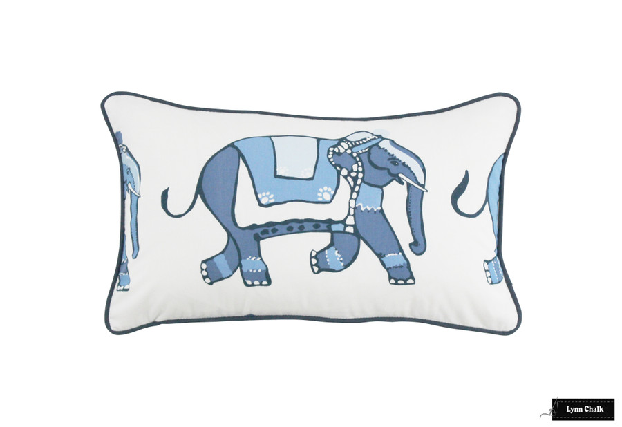Pillow in Parade with Navy Welting.