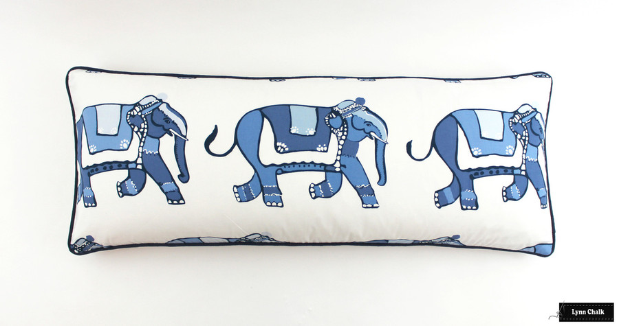 Pillow in Parade with Navy Welting. (14 X 36)