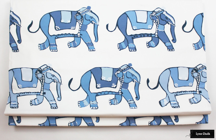 Lulu DK for Schumacher Parade Pillows with Navy Welting - 2 Pillow Minimum Order