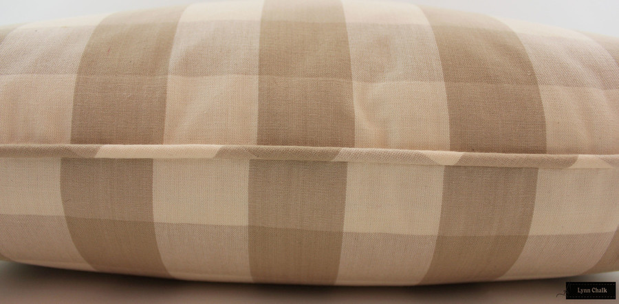 Schumacher Camden Check Pillows with Self Welting (shown in Sky-comes in many colors)