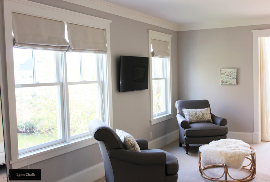 Quadrille Veneto in Grey Pillows with Roman Shades in Kravet Indoor Outdoor 16235 1116