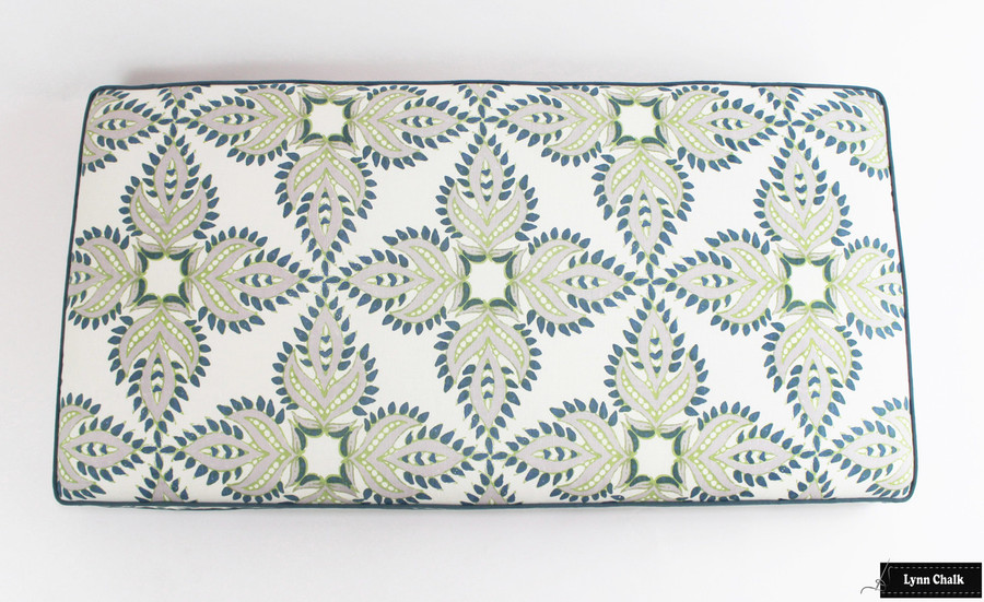 Custom Cushion (44 X 22 X 2) in John Robshaw Diba Peacock with Robert Allen Milan Cove Welting