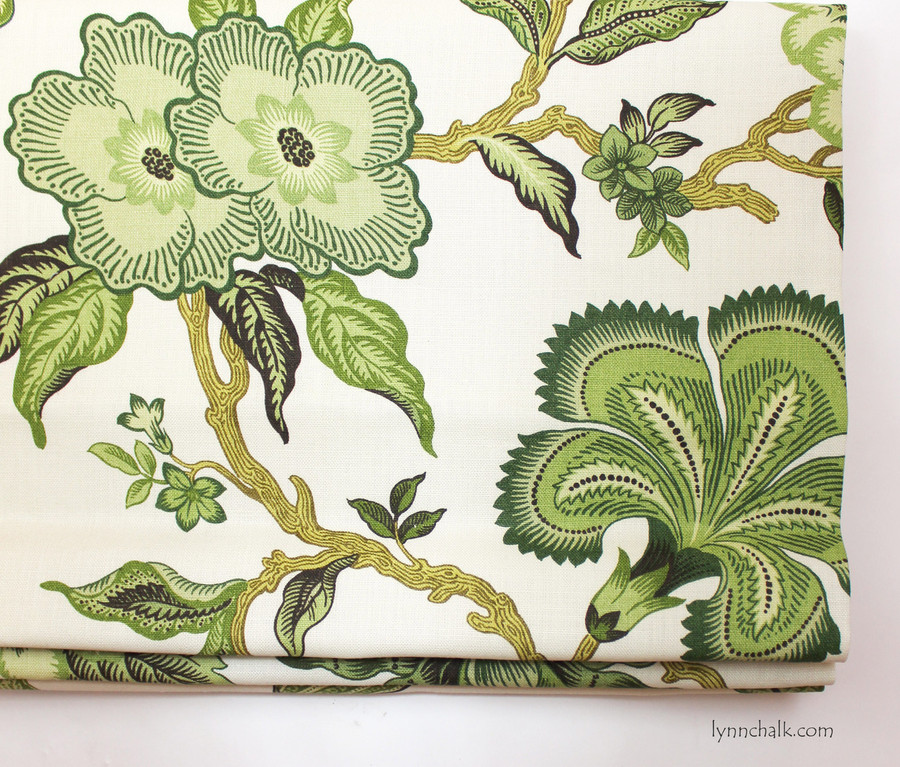 Schumacher Celerie Kemble Hothouse Flowers Pillows in Verdance with Welting