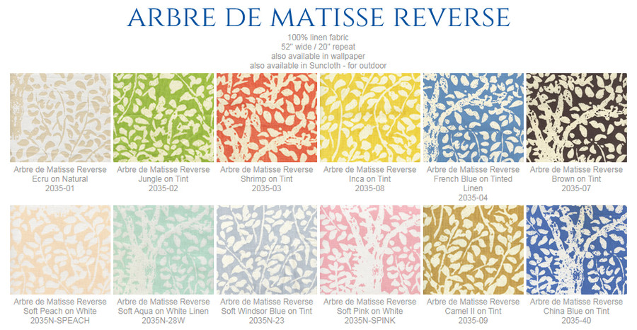 Quadrille China Seas Arbre De Matisse Pillows with self welting (shown in China Blue)