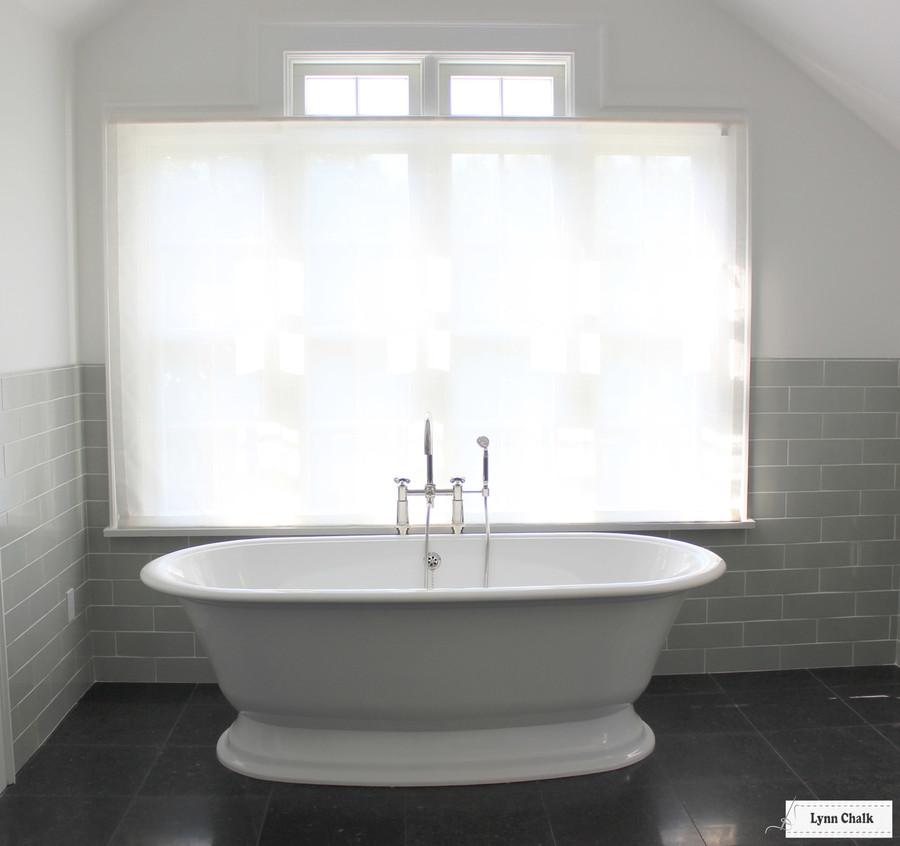 Bathroom Roman Shade Holland & Sherry Amalfi White Trevira Sheer