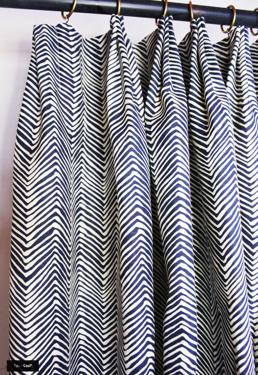 ON SALE 50% Off -Quadrille Alan Campbell Petite Zig Zag Pillow- in Navy on White  22 X 22 Pillow (Front Only-Made To Order)