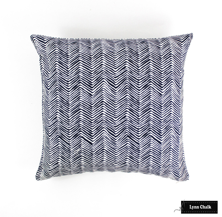 ON SALE 50% Off -Quadrille Alan Campbell Petite Zig Zag Pillow- in Navy on White  20 X 20 Pillow (Front Only-Made To Order)