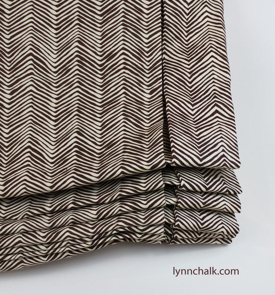 Custom London Style Roman Shades by Lynn Chalk in Quadrille Alan Campbell Petite Zig Zag -New Brown on Tint