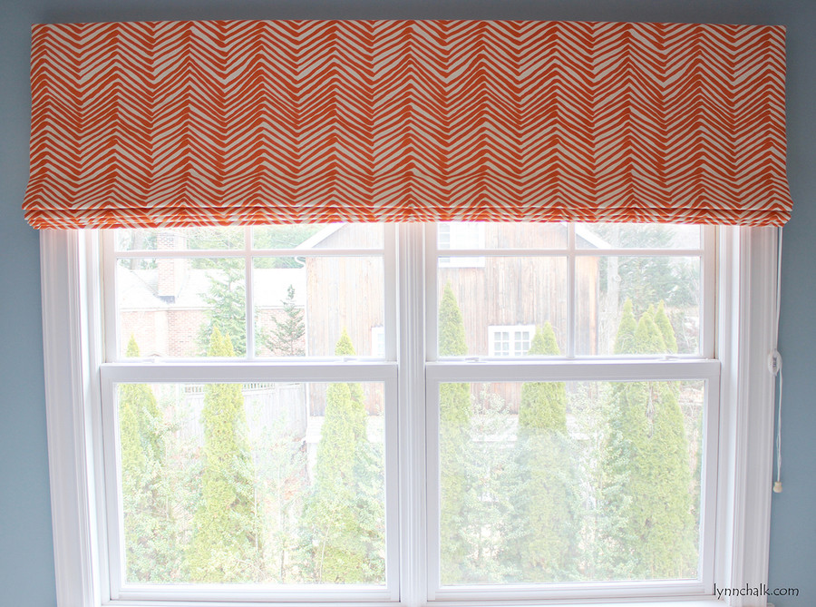 Roman Shade in larger scale Zig Zag Orange